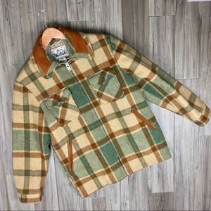 WOOLRICH Plaid Leather Wool Hunting Coat